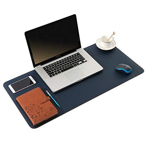 ARNTY Tappetino Scrivania, Sottomano Scrivania Copri Scrivania Pelle,Doppia Facciata Desk Pad,Impermeabile Tappetino per Scrivania PC per Ufficio e Casa (Blu&Arancione, 60 * 35cm)