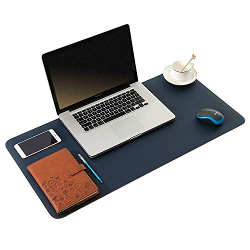 ARNTY Protector Escritorio de Cuero PU,Protector Mesa Escritorio Doble Cara,Grande Almohadilla de Escritorio de Oficina para Ordenador,Desk Mat para la Oficina y el Hogar(Azul&Naranja, 80 * 40cm)