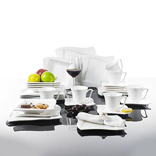MALACASA, Série Amparo, 30pcs Services de Table Complets Porcelaine, 6 Tasses à Café, 6 Soucoupe, 6 Assiettes à Dessert, 6 Assiettes à Soupe, 6 Assiettes Plates pour 6 Personnes
