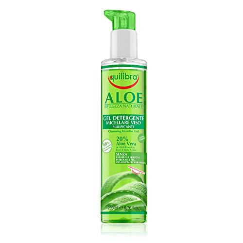 Equilibra Viso, Aloe Gel Detergente Micellare Viso, Gel Detergente Viso a Base di Aloe Vera per Pelli Sensibili, Struccante, Rimuove Residui di Make-up e Impurità, Idratante e Tonificante, 200 ml