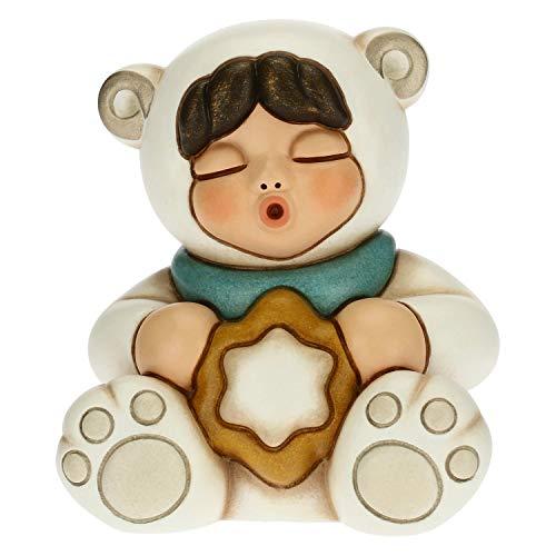 THUN - Soprammobile Bimba con Vestito da Orso Polare e Stella - Accessori per la Casa da Collezionare - Linea Un Pensiero Felice - Formato Grande - Ceramica - 8,4 x 7 x 9 h cm