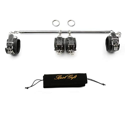 TMEOIIPY New Silver Expandable Spreader Bar with 4 Black Adjustable Straps...