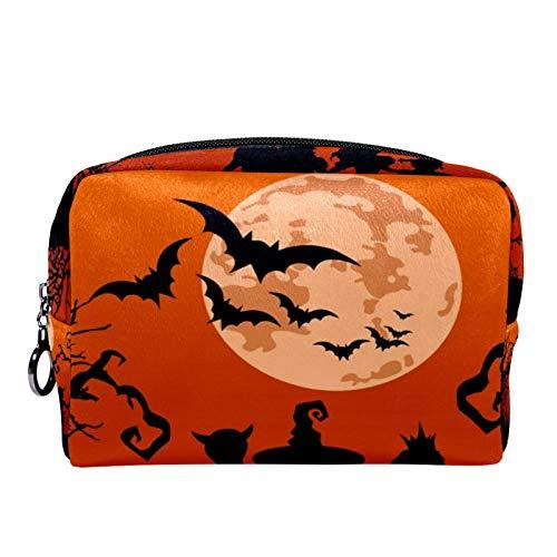 Bolsa de maquillaje con cremallera para Halloween con diseño de bruja volando al castillo