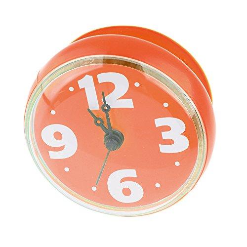 Reloj de pared para ducha Lommer, hecho de plástico ABS y goma, impermeable con ventosa para el baño, Naranja, 2.8x1.4x2.8inch