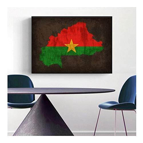 TeriliziMapa De La Bandera del País Poster Burkina Faso Flag Map Canvas Print Home Decor Wall Art Decor-40X56Cm Sin Marco