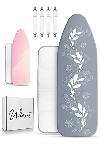 Wiaret -Thermo Reflect Bügelbrettbezug Set 120x40cm inkl. Spannclips+ Bügeltuch- mit Gummizug-für Dampfbügeleisen-extra dick gepolstert grau-weiß