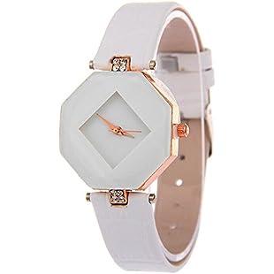 Womens Rhinestone Quartz Watches,Ulanda-EU Fashion Analog Clearance Lady Wrist Watch Female watches on Sale Watches for Women,Round Dial Case Comfortable PU Leather Wristwatch m94 (White)