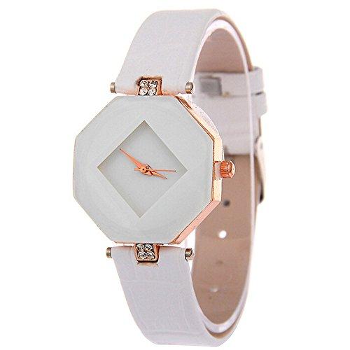 Hzing Fashion Damen Armbanduhr, Frauen Strass Kleid Uhr mit PU Lederband Analog Quarz Uhr Damenuhr Uhren