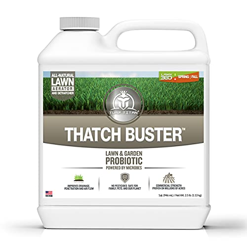 Thatch Buster by Turf Titan - Liquid Lawn Aerator and Dethatcher, Soil Loosener, Easy to Use, 32oz Concentrate