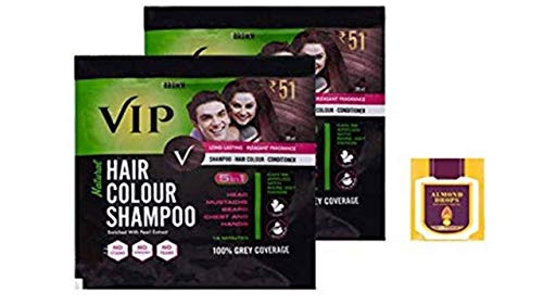 VIP Hair Colour Shampoo, Brown 20ml PACK OF 2 + Almond Oil 10 ml Free