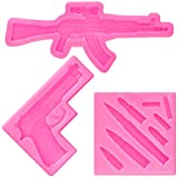 2 Pieces Gun Silicone Molds Pistol Machine Gun Mold and 1 Piece Mini Sizes Bullet Silicone Molds Mini Bullet Silicone Casting Mold for Cake Decoration Fondant Cake Decor Tools, Pink