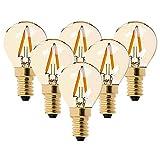 Bombilla LED G40 de filamento mini globo de 1 W – Blanco ultra cálido 2200 K (brillo ámbar) – equivalente a 10 W – Bombillas de candelabro E14 – no atenuables – 6 unidades