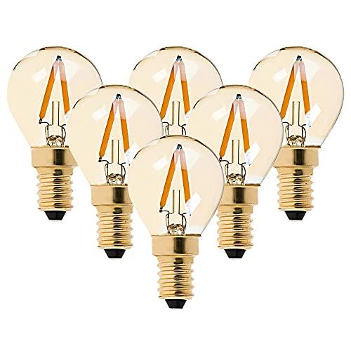 6er-Pack G40 Edison Vintage-1W LED-Glühlampe, 2200K Warmweiß,Mittel Schraube E14, getönter Glasbeschichtung,100 Lumen Ersetzt 10 Watt Glühlampen, CRI>90,No Dimmbar