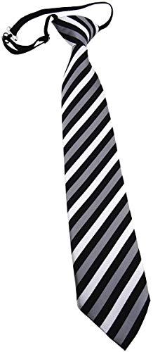 TigerTie TigerTie Kinderkrawatte in silber grau schwarz gestreift - Krawatte vorgebunden mit Gummizug