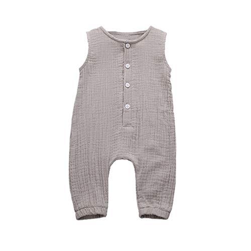 Xmiral Infant Baby Jungen Mädchen Weste Strampler Unisex Einfarbig Ärmellose Knöpfe Overall Plissee Baumwollmischung Bodys Playsuit(a Grau,6-12 Monate)