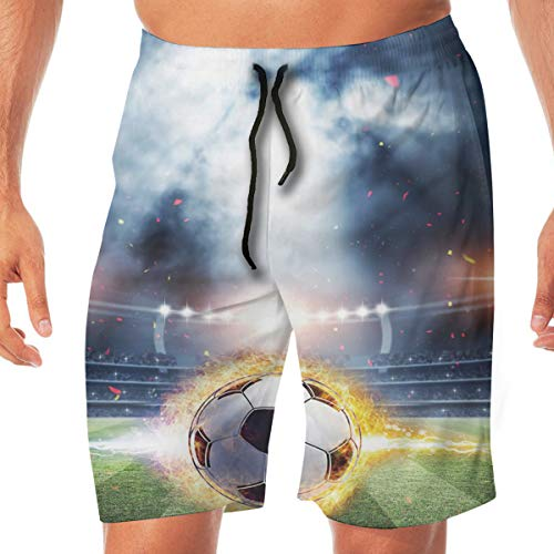 Mens Quick Dry Beach Shorts Elastic Waist Swim Trunks Bathing Suit A Lone Wolf Under The Moon and Stars