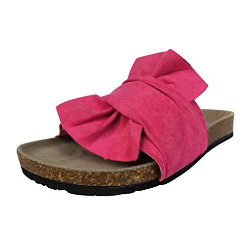 Damen Pantoletten Sandalen Frauen Casual Sommer Bowknot Bequeme Slip On Outdoor Hausschuhe (39,Pink)
