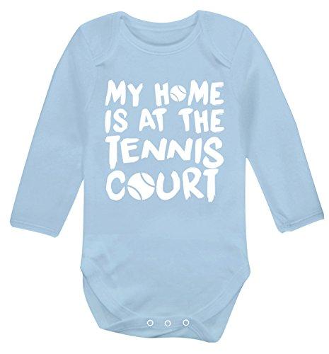 La mia casa è al campo da tennis manica lunga baby gilet tutina babygrow   Flox Creative Azzurro 0 mes