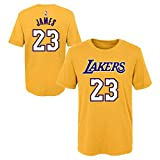Outerstuff Youth Los Angeles Lakers Lebron James Name and Number Short Sleeve T-Shirt (Gold) (Large (14/16))