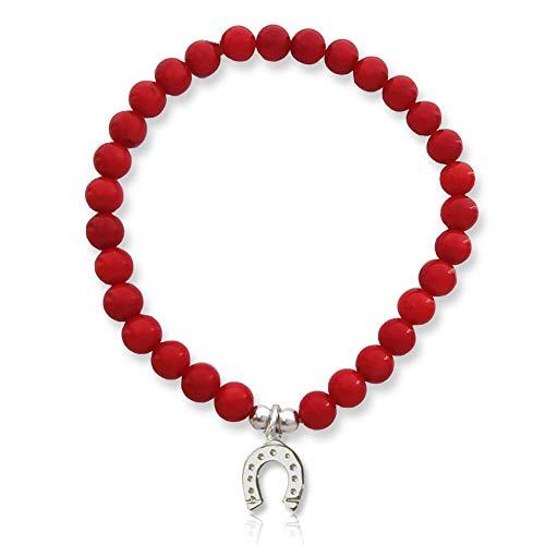 Pulsera elástica con coral de bambú rojo y herradura de la suerte de plata 925