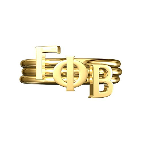A-List Greek GPhi Sorority Gifts, Gamma Phi Beta Greek Letter Stack Rings, Sorority Jewelry, Adjustable Band Gold Plated, Cute for Bid Day, Rush, Big Little