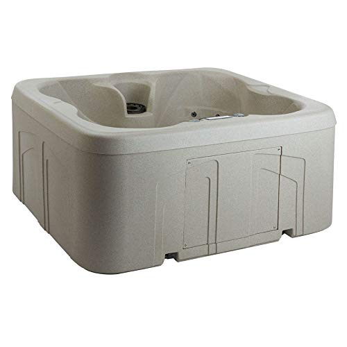 LIFE SMART 4 Person Plug & Play Square Hot Tub Spa with 13 Jets and Cover, Beige