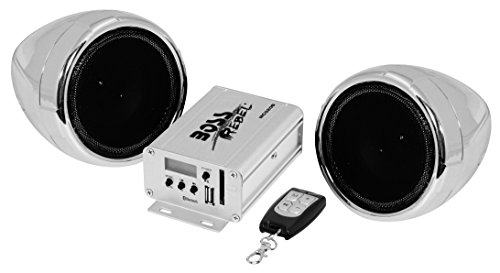 BOSS Audio Systems MCBK520B Motorcycle Speaker and Amplifier Sound System - Bluetooth, Weatherproof, 3 inch Speakers, 2 Channel Amplifier, FM Tuner, USB, SD