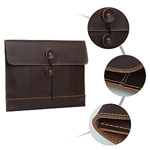 41rwh1FsAuL. SS300  - Leathario Bolso de Mano Cuero Vintage Portafolio Funda para A4 Documentos Archivo Organizador Sobre de Trabajo Portátil…
