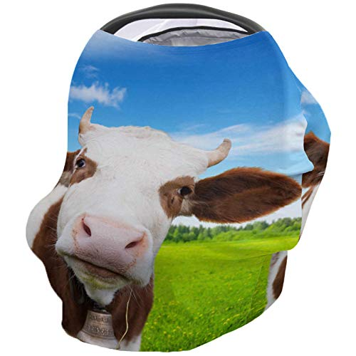 Best Price Funny Cow Nursing Cover for Baby Breastfeeding, Soft Breathable Stretchy Carseat Canopy, ...