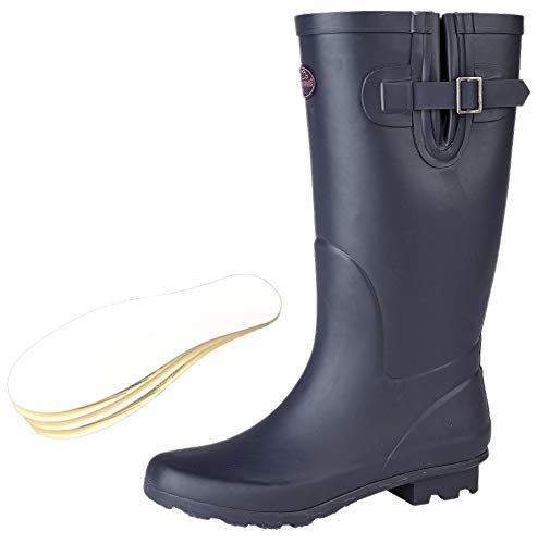 New Ladies Festival Rain Snow Welly Wide Calf Fit Wellies Wellington Boots Navy