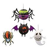 4 Unids/Set 3D Plegable Panal Linterna De Papel Fantasmas, yumcute MurciéLagos, ArañAs Y ArañAs Flor Decoraciones De Farolillos De Papel De Halloween Colgantes