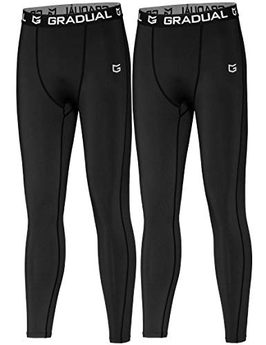 G Gradual Boys' Compression Pants Youth Thermal Base Layer Fleece Tights Sports Basketball Leggings for Boys (2 Pack: Black/Black, Medium)
