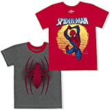 Marvel 2-Pack Boy's Spider-Man Short Sleeve Superhero Tee Shirt Set, Grey/Red, Size 3T