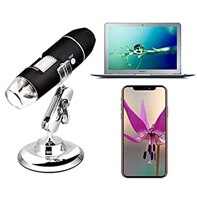 Wireless Digital WiFi USB Microscope 50X - 1000X Magnification Mini Handheld Endoscope Inspection Camera with 8 LEDs with Metal Stand, Compatible with iPhone, Android Smartphone, Mac, Windows (Black)