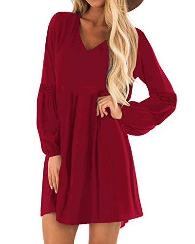 YOINS Sexy Kleid Damen Sommerkleid für Damen Babydoll Kleider Brautkleid Tshirt Kleid Rundhals Langarm Minikleid Langes Shirt Lose Tunika Strandkleid Baumwolle-rot XL