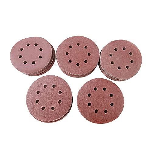 Disco de Lijado de 100 Piezas, 5 Pulgadas y 8 Orificios, Pulido de Grano 60/80/100/120/240