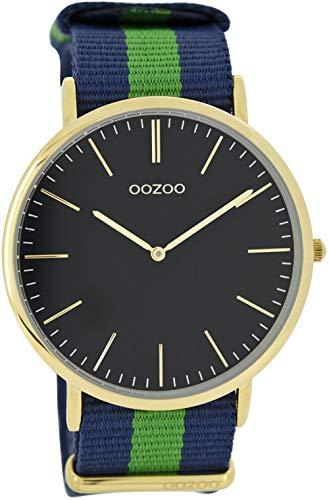 Oozoo Vintage Armbanduhr mit Natoband Textilband 44 MM Goldfarben/Schwarz/Blau Grün C6923