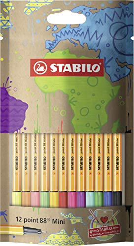 Fineliner - STABILO point 88 Mini - #mySTABILOdesign Edition - 12er Pack - mit 12 verschiedenen Farben
