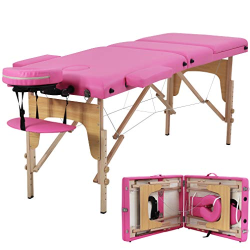 Massage Table Portable 84 inch Massage Bed Spa Bed 3 Fold Facial Table Esthetician table Salon SPA Bed Height Adjustable With Carry Case (Pink)