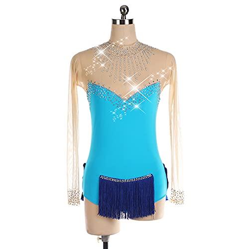 SHUKOES Vestido De Competición De Práctica De Patinaje sobre Hielo para Mujer, Diamantes De Imitación Personalizados Patinaje sobre Hielo, Suave, Cómodo, Transpirable, De Alta Elasticidad Vestido,XXS