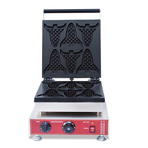 Hanchen NP-909 Commercial Electric Airplane Plane Aircraft Belgian Waffle Machine Maker Baker Making Machine Non-Stick 6 Pieces (110V)