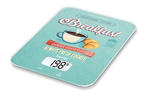 Beurer KS 19 Breakfast, digitale Küchenwaage (mit Tara-Zuwiegefunktion, Sensortastenbedienung, 5 kg Tragkraft)