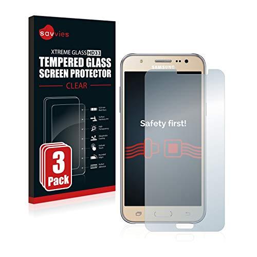 savvies Cristal Templado Compatible con Samsung Galaxy J7 2016 (3 Unidades) Protector...