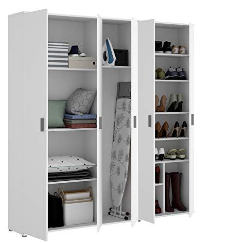 HABITMOBEL Pack Armarios para Cocina Auxiliares 5 Puertas, 10 estantes y escobero, Medidas 190 cm (Alto) x 177 cm (Ancho) x 35 cm (Fondo)