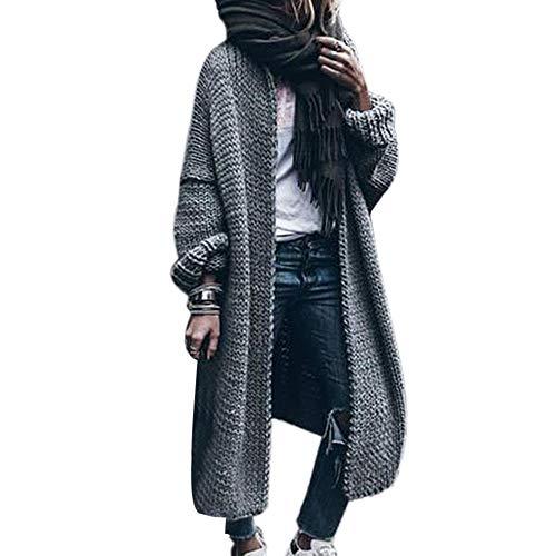Vertvie Gilet Long Femme en Tricot Cardigan Veste Ouvert Épais Manches Longues Pull Gilet Chaud Casual Grosse Maille Manteau Sweater Hiver Chandail Outwear (L, Gris)