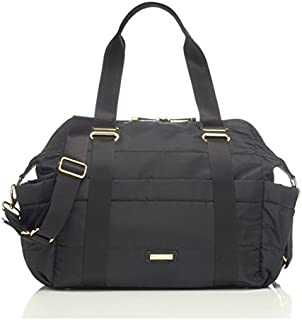 Storksak Sandy Diaper Bag in Black, Integrated Stroller Straps and Wipe Clean Lining