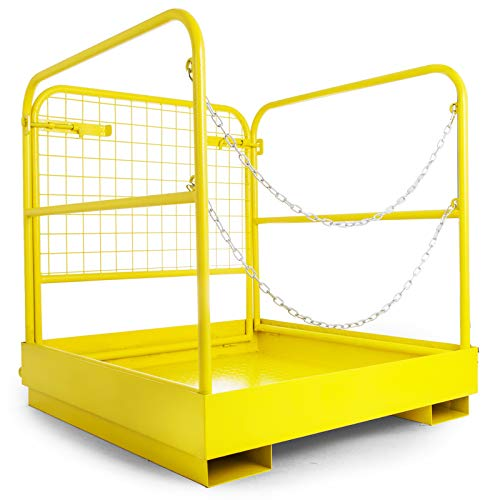 BestEquip Forklift Safety Cage Aerial Rails 36x36 Inch Forklift Safety Cage Work Platform Heavy Duty Steel Construction Fold Down Lift Basket 1102 Lbs Capacity