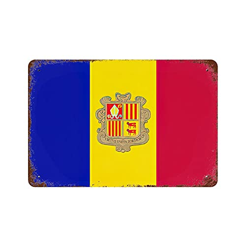 Gearsly The Principality of Andorra Flagge Vintage Nationalflagge Retro Blechschild Länderflaggen Wandkunst Patriotisches Wandbild Bar Cafe Decor Man Cave