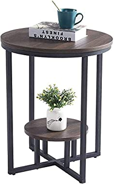 INDIAN DECOR 45567 Round Side Table, 2-Tier Industrial End Table Accent Table Nightstand with Storage and Metal Frame, for Li
