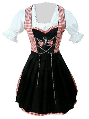 Damen-Dirndl Di04 Mini Gr.42, 3 TLG. Trachten-Kleid rot-schwarz mit Dirndel-Bluse u. -Schürze für Oktober-Fest
